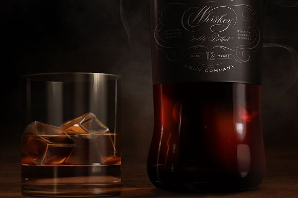 Download Whiskey mock-up, wide dark label