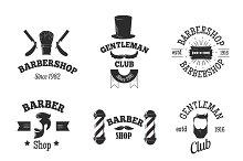 Barber shops symbols vector set