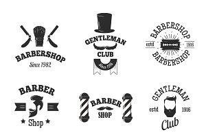 Barber shops symbols vector set