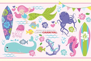 Girly Little Mermaid Clip Art Set