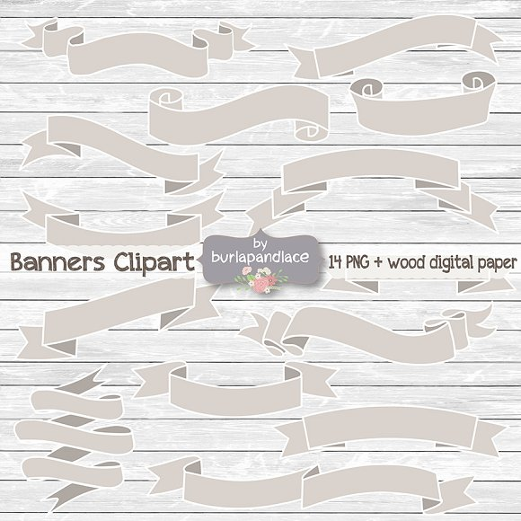 Rustic banner clipart ~ Illustrations on Creative Market