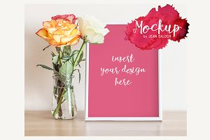 White Frame And Roses Mockup