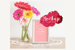 Flowers, Pearls & Wood Frame Mockup