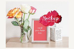 Grey Frame And Roses Mockup