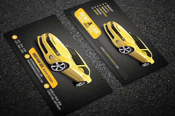 Rent a car business card business card templates creative market colourmoves