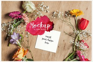 Square Card And Flowers Mockup