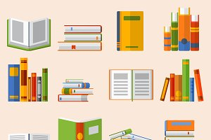 Books set vector illustration