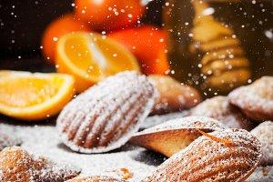 Homemade orange honey madeleines