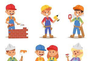 Builders kids vector set