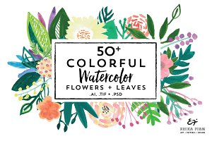 Colorful Watercolor Flowers+ Leaves