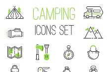 Camping icons vector set