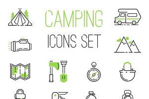 Camping icons vector set