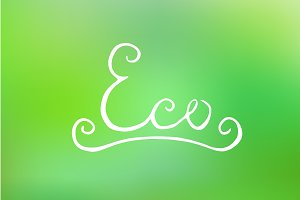 Handwritten eco lettering. Vector