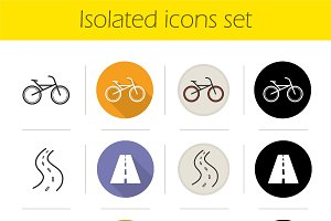 Cycling. 12 icons. Vector