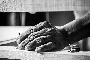 man hands working