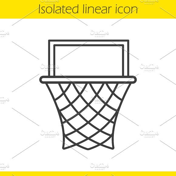 Basketball hoop linear icon. Vector - Icons
