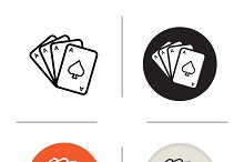 Poker ace quads. 4 icons. Vector