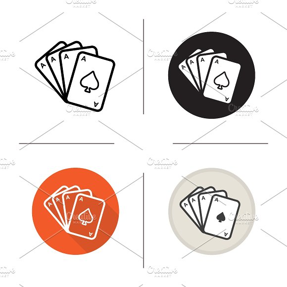 Poker ace quads. 4 icons. Vector - Icons