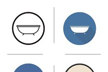 Bathtub. 4 icons. Vector