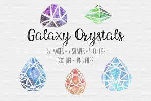 Galaxy Watercolor Crystal Clipart