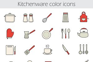 Cooking instruments 25 icons. Vector