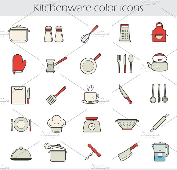 Cooking instruments 25 icons. Vector - Icons