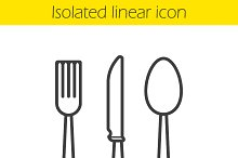 Cutlery set linear icon. Vector