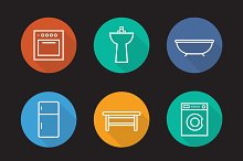 Kitchen and bathroom 9 icons. Vector