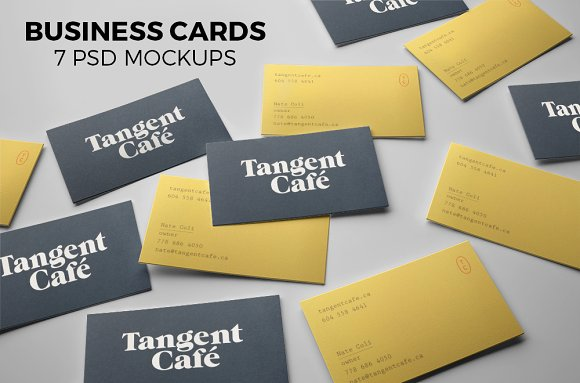 Business cards. 7 PSD mockups - Product Mockups