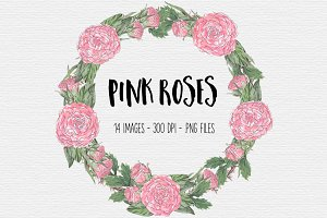 Pink Rose Watercolor Clipart