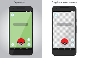Pokemon Go screen. Vector, PNG, PSD
