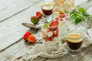 Traditional eton mess with strawberry
