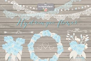 Hydrangea Wedding mason jar clipart