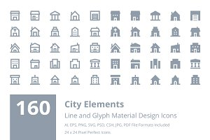 160 City Material Design Icons
