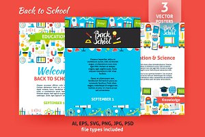 Back to School Flat Posters