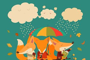 Foxes sitting under umbrella on log
