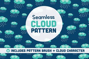 Seamless Cloud Pattern and Character