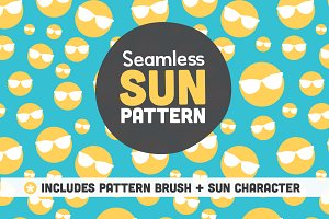 Seamless Sun Pattern and Character