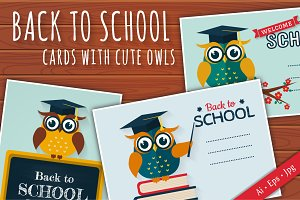 Back to School cards with cute owls