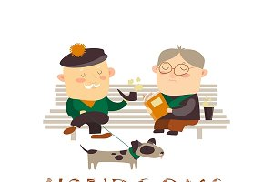 Old men sitting on bench