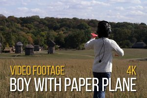 Boy With Paper Plane - Video Footage