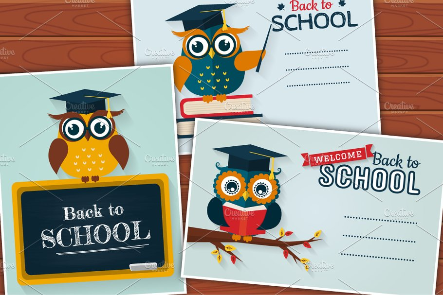 Sensational Back To School Cards With Cute Owls Creative Card Templates Funny Birthday Cards Online Fluifree Goldxyz