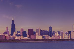 Chicago skyline in vintage tinted snapshot