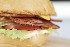 Ham, pork burgers