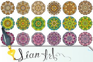 Set of 18 colorful round ornaments