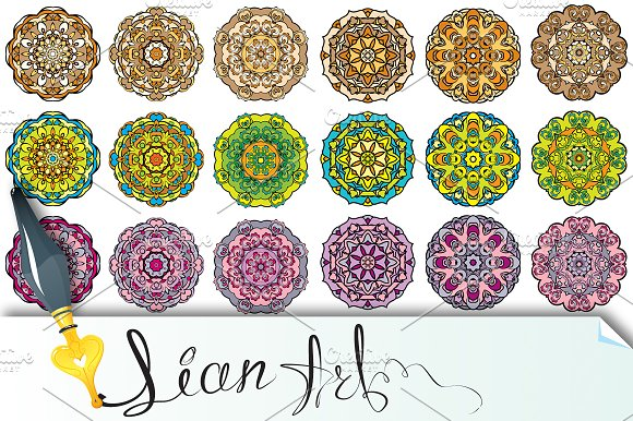 Set of 18 colorful round ornaments in Patterns