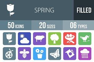 50 Spring Flat Round Corner Icons