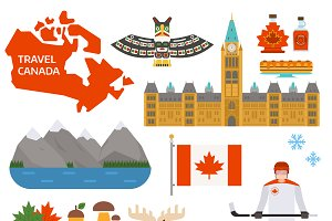 Canada symbols vector illustration