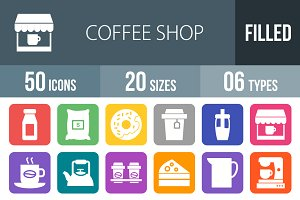 50 Coffee Flat Round Corner Icons
