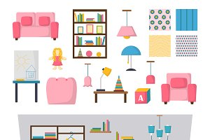 Kids room interior vector set